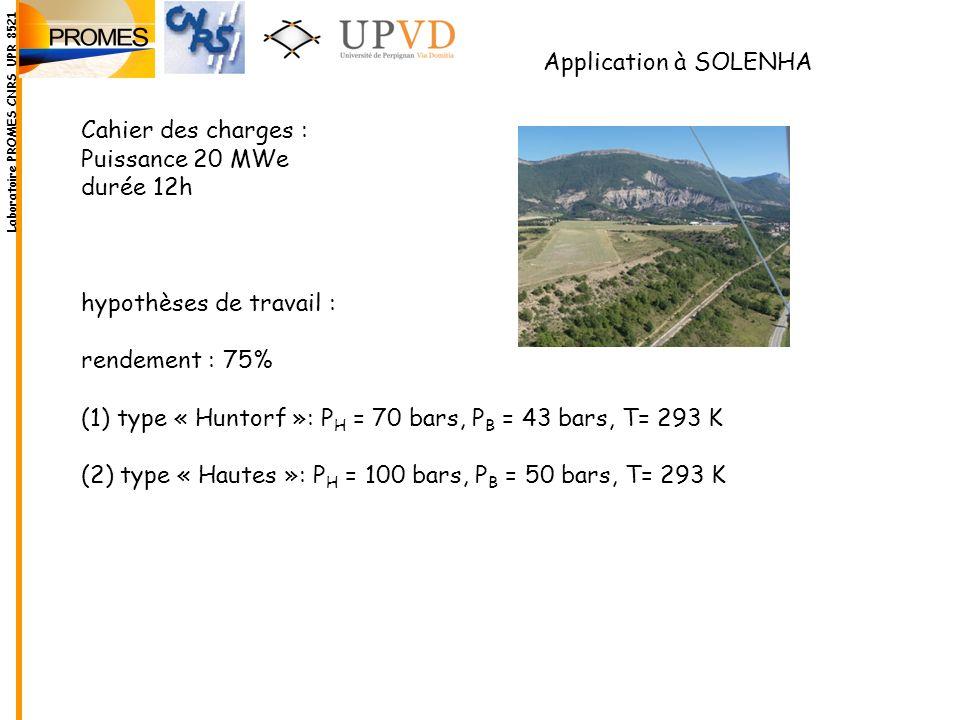 Application à SOLENHA Cahier des charges : Puissance 20 MWe durée 12h hypothèses de travail : rendement : 75% (1) type « Huntorf »: P H = 70 bars, P B