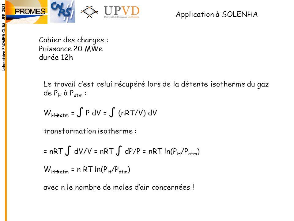 Application à SOLENHA Cahier des charges : Puissance 20 MWe durée 12h Le travail cest celui récupéré lors de la détente isotherme du gaz de P H à P at
