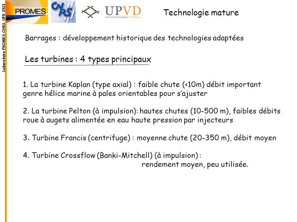Les turbines : 4 types principaux 1. La turbine Kaplan (type axial) : faible chute (<10m) débit important genre hélice marine à pales orientables pour