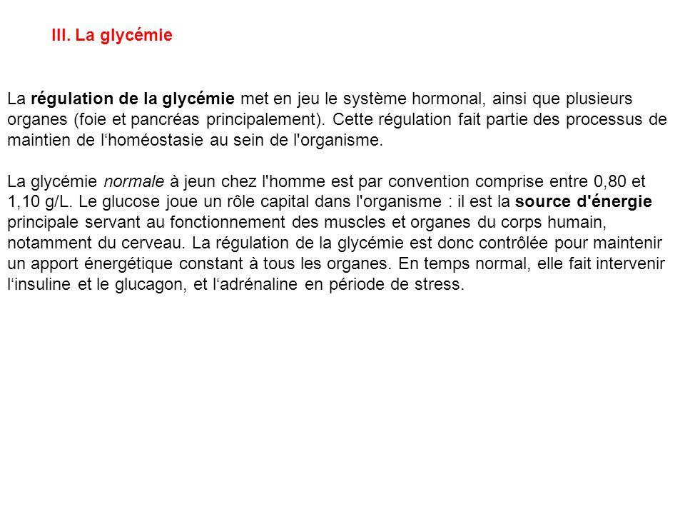 III. La glycémie La régulation de la glycémie met en jeu le système hormonal, ainsi que plusieurs organes (foie et pancréas principalement). Cette rég