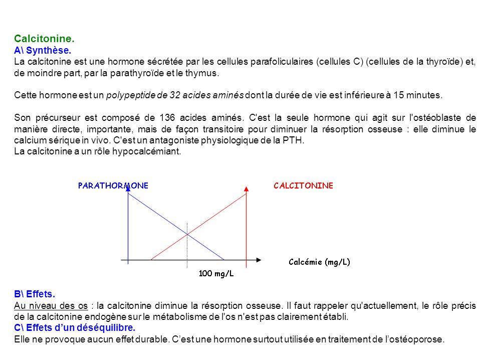 Calcitonine. A\ Synthèse. La calcitonine est une hormone sécrétée par les cellules parafoliculaires (cellules C) (cellules de la thyroïde) et, de moin