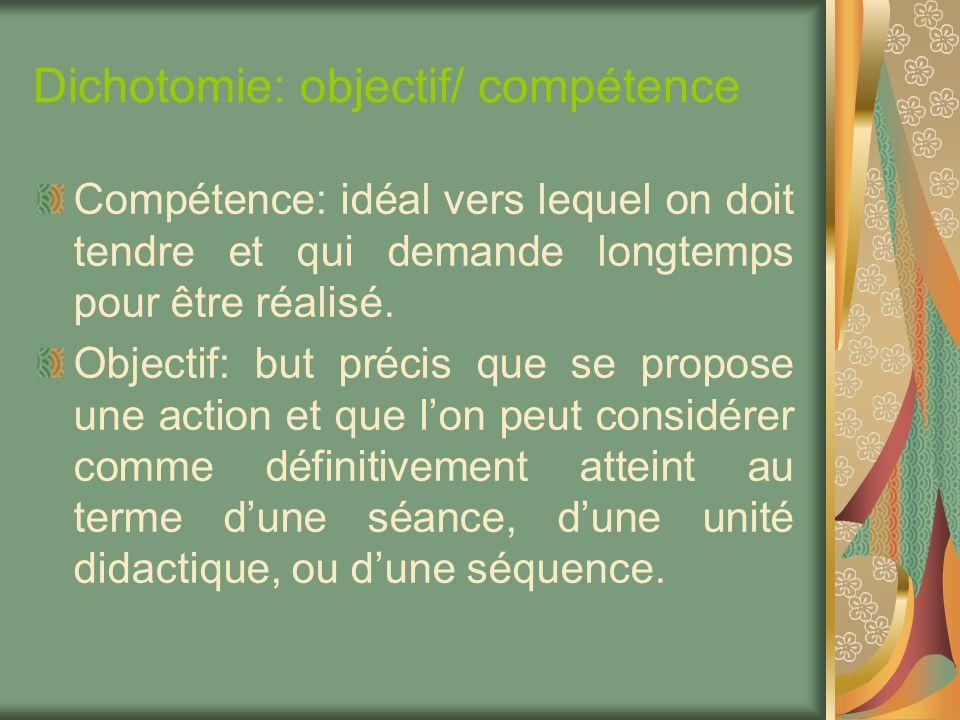 Dichotomie: objectif/ compétence Compétence: idéal vers lequel on doit tendre et qui demande longtemps pour être réalisé. Objectif: but précis que se