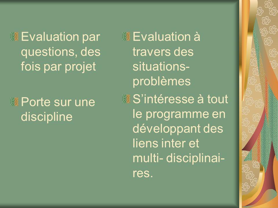 Evaluation par questions, des fois par projet Porte sur une discipline Evaluation à travers des situations- problèmes Sintéresse à tout le programme e