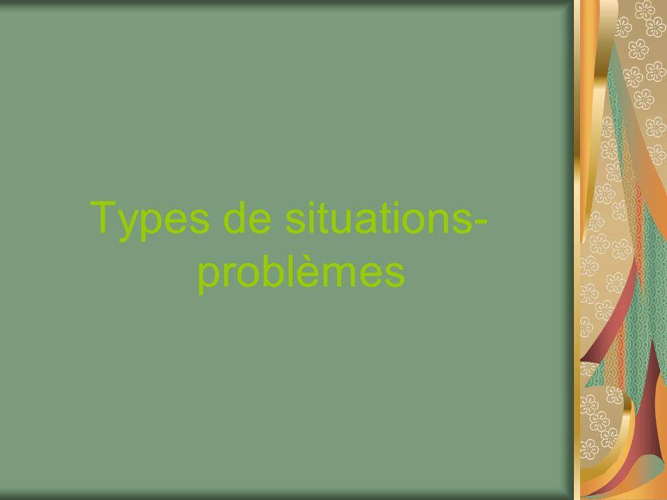 Types de situations- problèmes