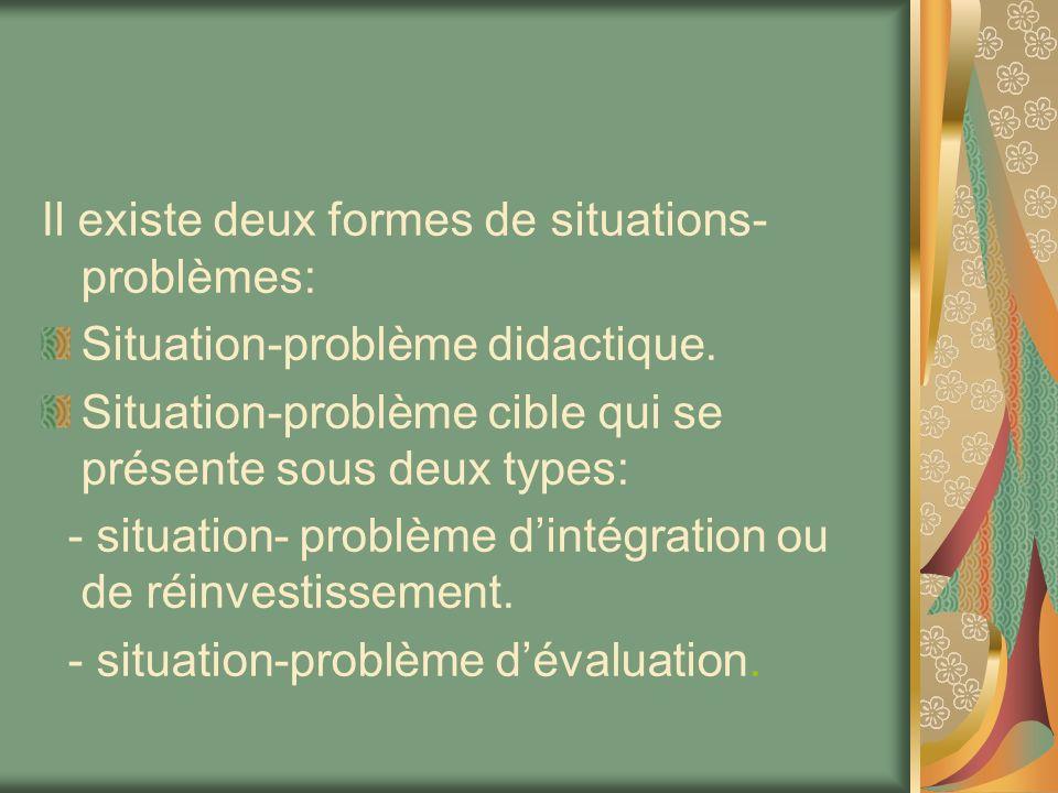 Il existe deux formes de situations- problèmes: Situation-problème didactique. Situation-problème cible qui se présente sous deux types: - situation-
