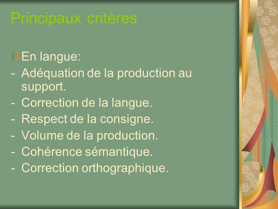 Principaux critères En langue: -Adéquation de la production au support. -Correction de la langue. -Respect de la consigne. -Volume de la production. -