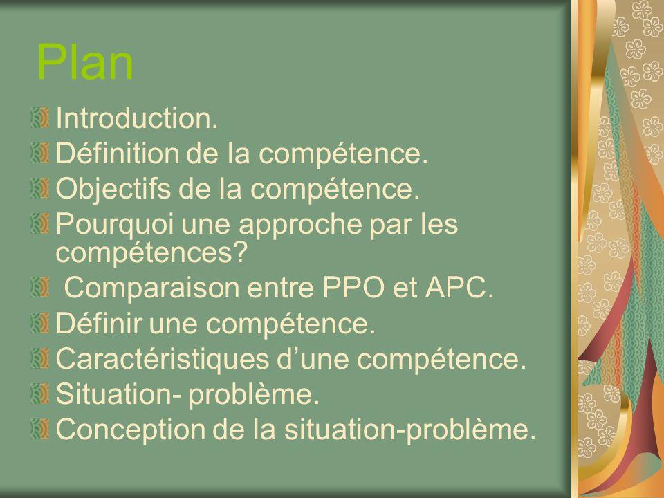 Plan Introduction. Définition de la compétence. Objectifs de la compétence. Pourquoi une approche par les compétences? Comparaison entre PPO et APC. D