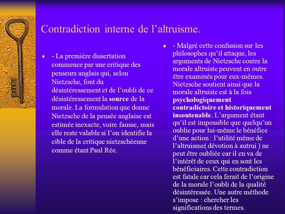 Contradiction interne de laltruisme. - La première dissertation commence par une critique des penseurs anglais qui, selon Nietzsche, font du désintére
