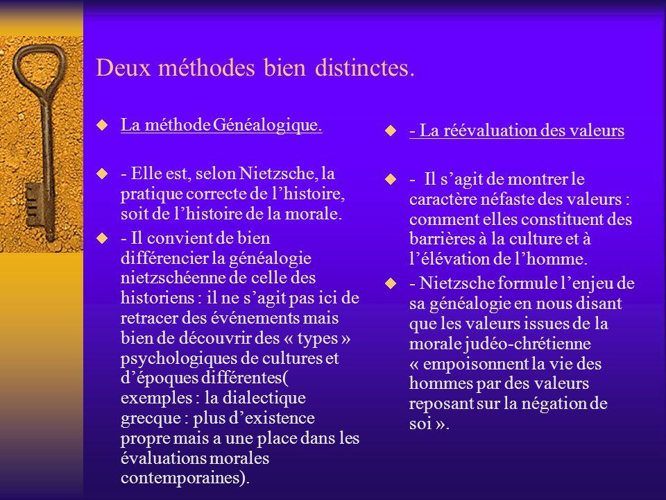 Deux méthodes bien distinctes. La méthode Généalogique. - Elle est, selon Nietzsche, la pratique correcte de lhistoire, soit de lhistoire de la morale