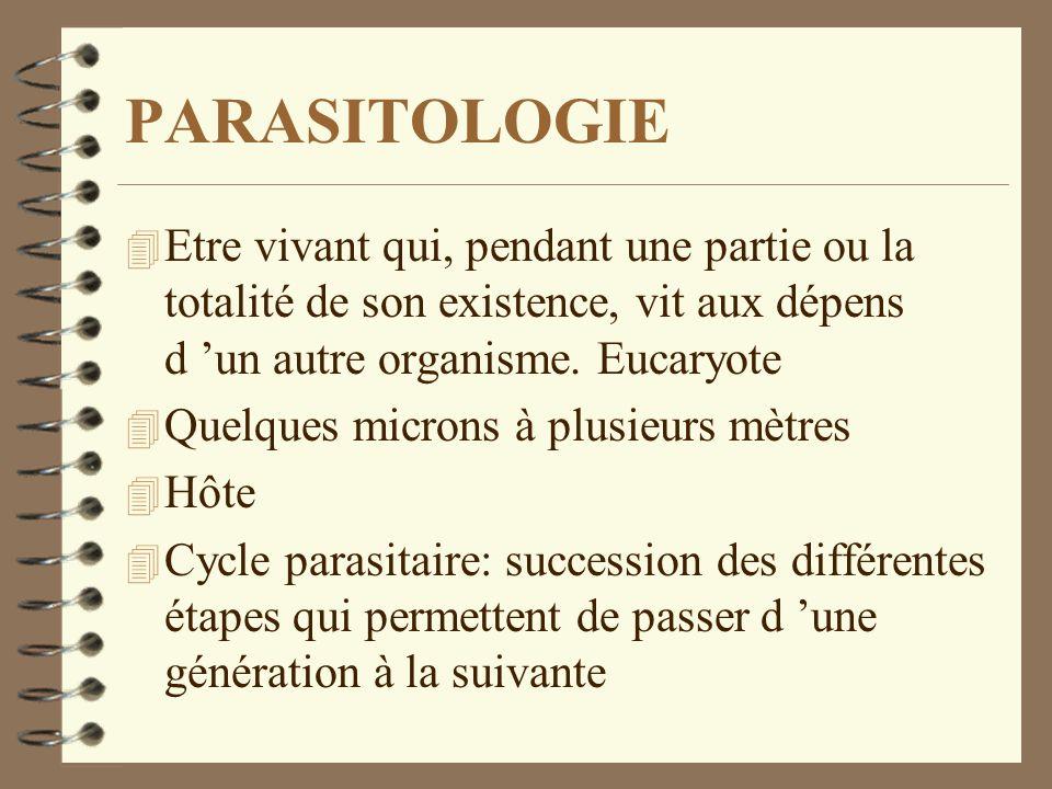 PARASITOLOGIE 4 Etre vivant qui, pendant une partie ou la totalité de son existence, vit aux dépens d un autre organisme. Eucaryote 4 Quelques microns