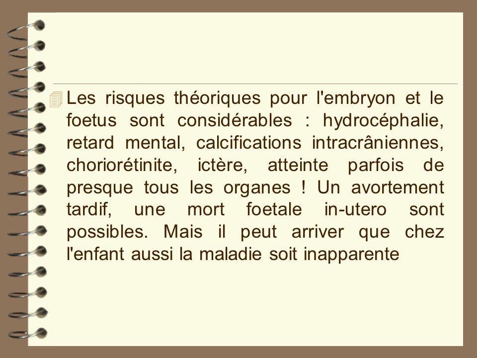 4 Les risques théoriques pour l'embryon et le foetus sont considérables : hydrocéphalie, retard mental, calcifications intracrâniennes, choriorétinite