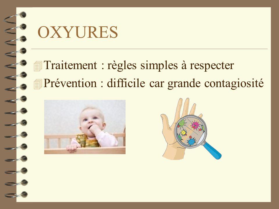 OXYURES 4 Traitement : règles simples à respecter 4 Prévention : difficile car grande contagiosité