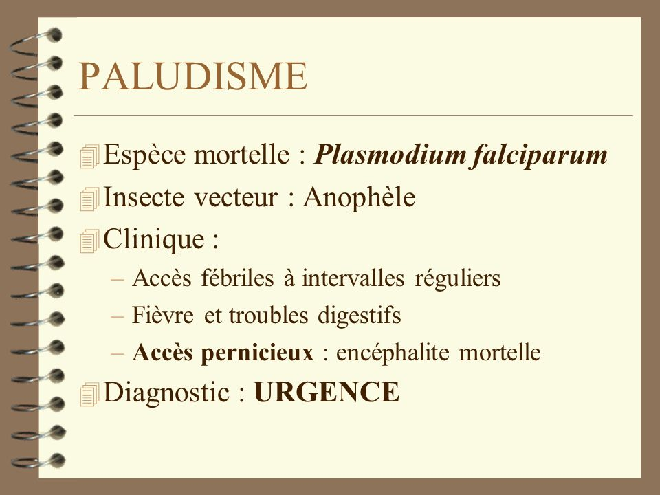 PALUDISME 4 Espèce mortelle : Plasmodium falciparum 4 Insecte vecteur : Anophèle 4 Clinique : –Accès fébriles à intervalles réguliers –Fièvre et troub