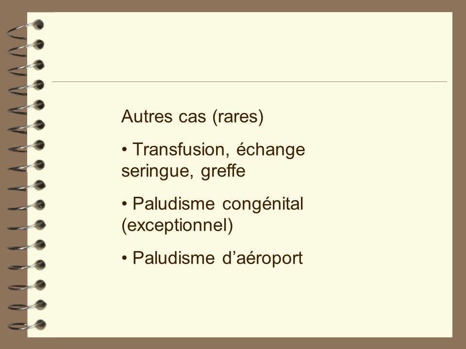 Autres cas (rares) Transfusion, échange seringue, greffe Paludisme congénital (exceptionnel) Paludisme daéroport