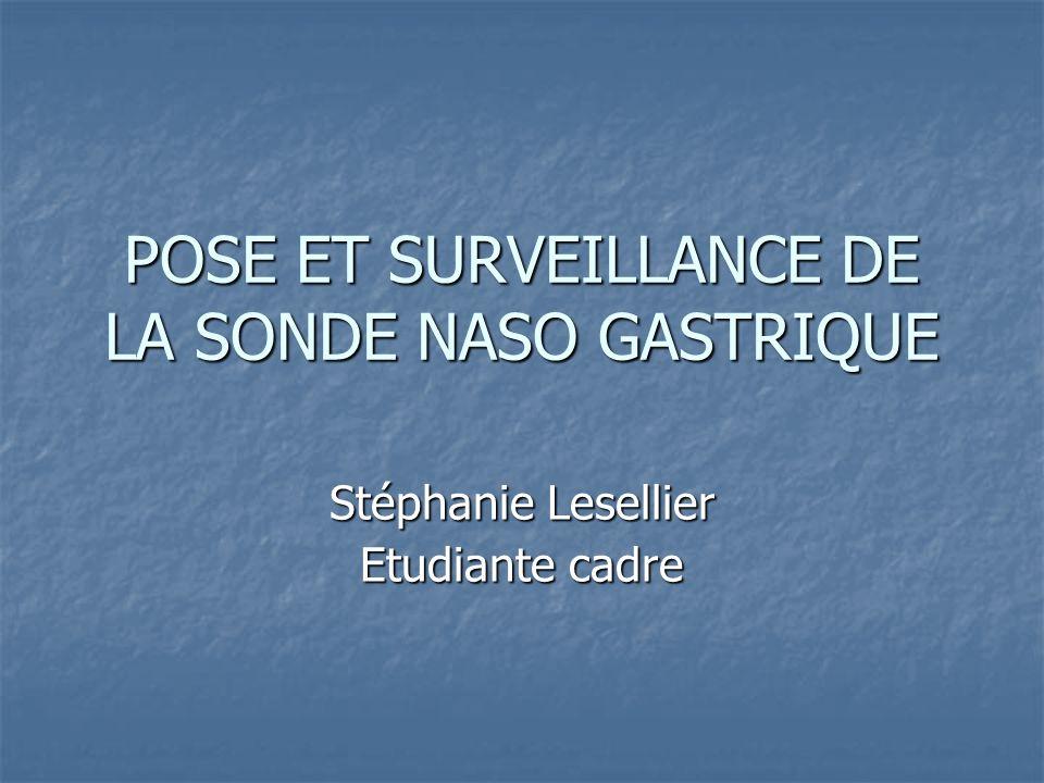 POSE ET SURVEILLANCE DE LA SONDE NASO GASTRIQUE Stéphanie Lesellier Etudiante cadre