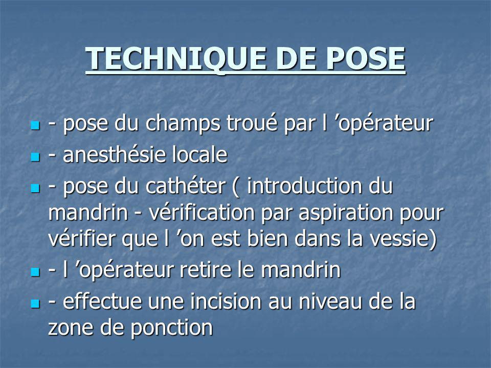 TECHNIQUE DE POSE - pose du champs troué par l opérateur - pose du champs troué par l opérateur - anesthésie locale - anesthésie locale - pose du cath