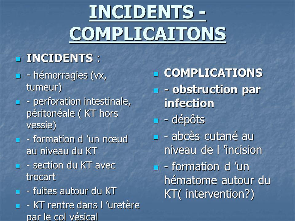 INCIDENTS - COMPLICAITONS INCIDENTS : INCIDENTS : - hémorragies (vx, tumeur) - hémorragies (vx, tumeur) - perforation intestinale, péritonéale ( KT ho