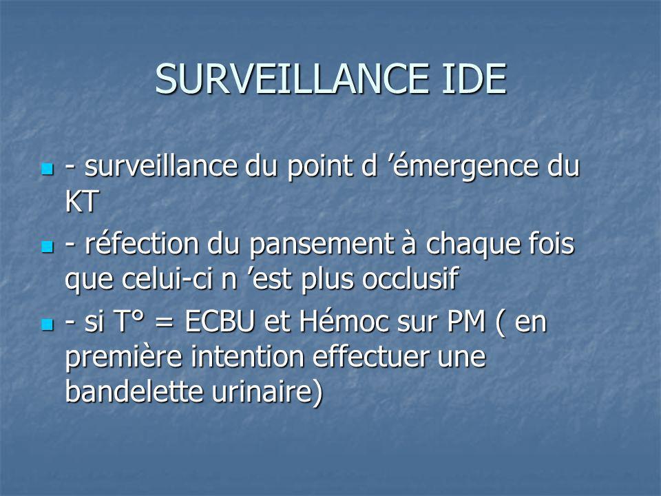 SURVEILLANCE IDE - surveillance du point d émergence du KT - surveillance du point d émergence du KT - réfection du pansement à chaque fois que celui-