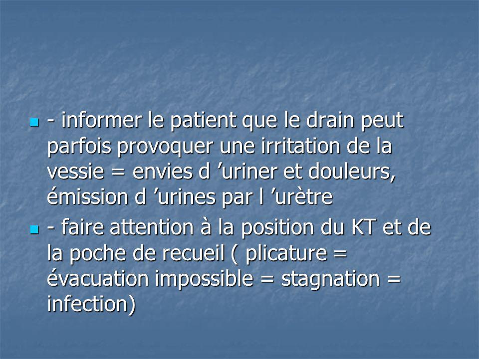- informer le patient que le drain peut parfois provoquer une irritation de la vessie = envies d uriner et douleurs, émission d urines par l urètre -