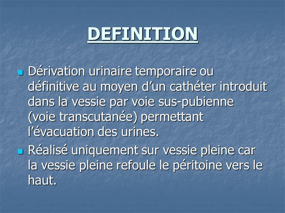 DEFINITION Dérivation urinaire temporaire ou définitive au moyen dun cathéter introduit dans la vessie par voie sus-pubienne (voie transcutanée) perme