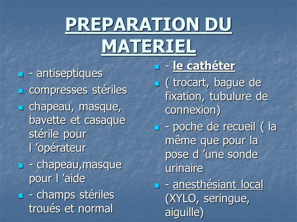 PREPARATION DU MATERIEL - antiseptiques - antiseptiques compresses stériles compresses stériles chapeau, masque, bavette et casaque stérile pour l opé