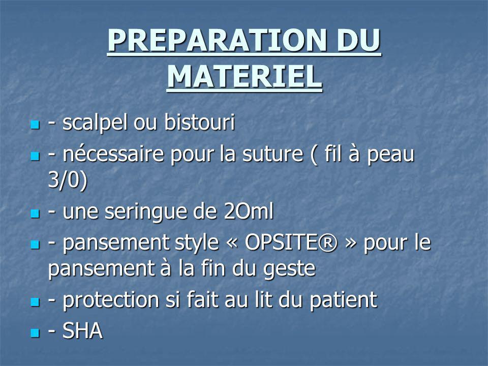 PREPARATION DU MATERIEL - scalpel ou bistouri - scalpel ou bistouri - nécessaire pour la suture ( fil à peau 3/0) - nécessaire pour la suture ( fil à