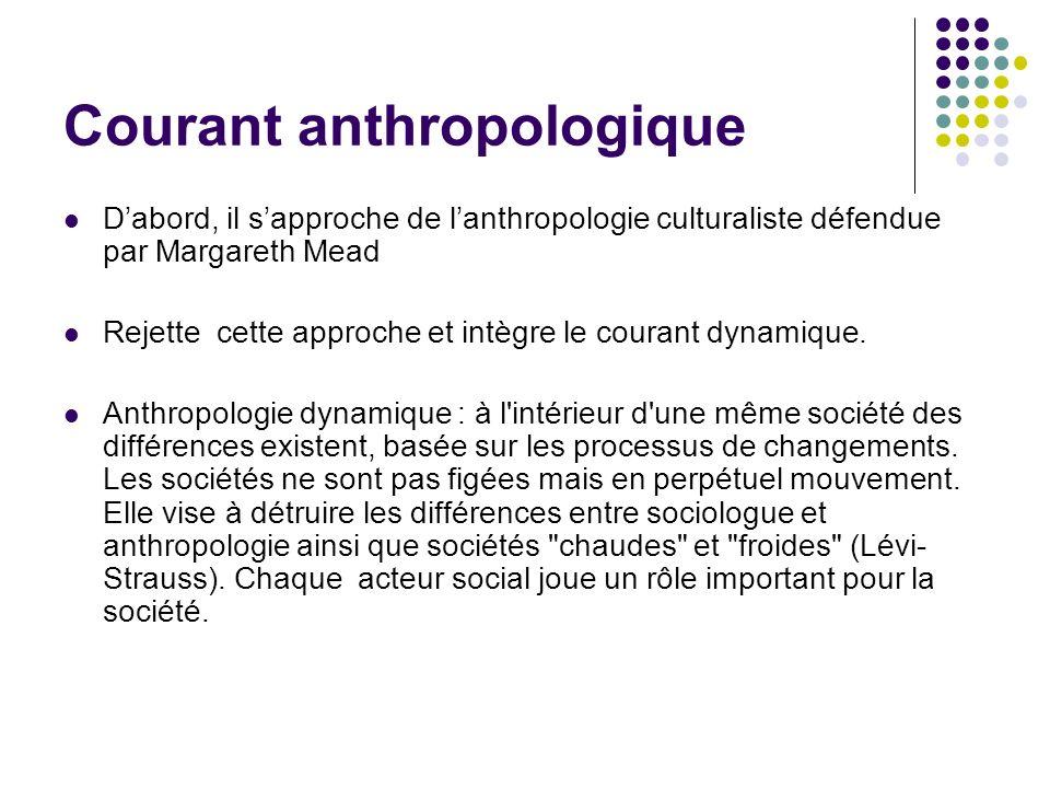 Courant anthropologique Dabord, il sapproche de lanthropologie culturaliste défendue par Margareth Mead Rejette cette approche et intègre le courant d