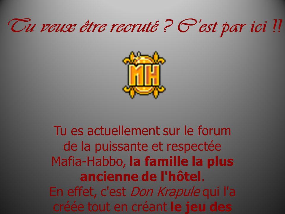 Tu es actuellement sur le forum de la puissante et respectée Mafia-Habbo, la famille la plus ancienne de l'hôtel. En effet, c'est Don Krapule qui l'a