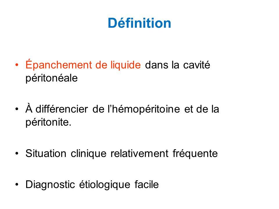 Définition Épanchement de liquide dans la cavité péritonéale À différencier de lhémopéritoine et de la péritonite.