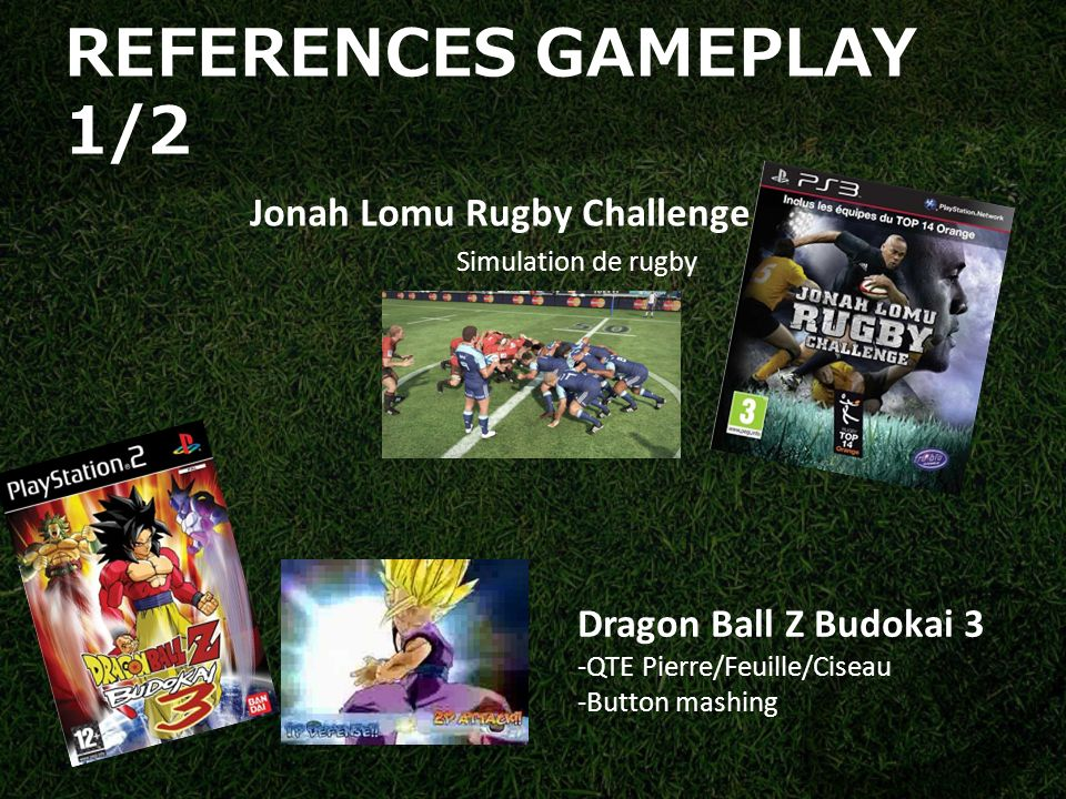 REFERENCES GAMEPLAY 1/2 Jonah Lomu Rugby Challenge Simulation de rugby Dragon Ball Z Budokai 3 -QTE Pierre/Feuille/Ciseau -Button mashing