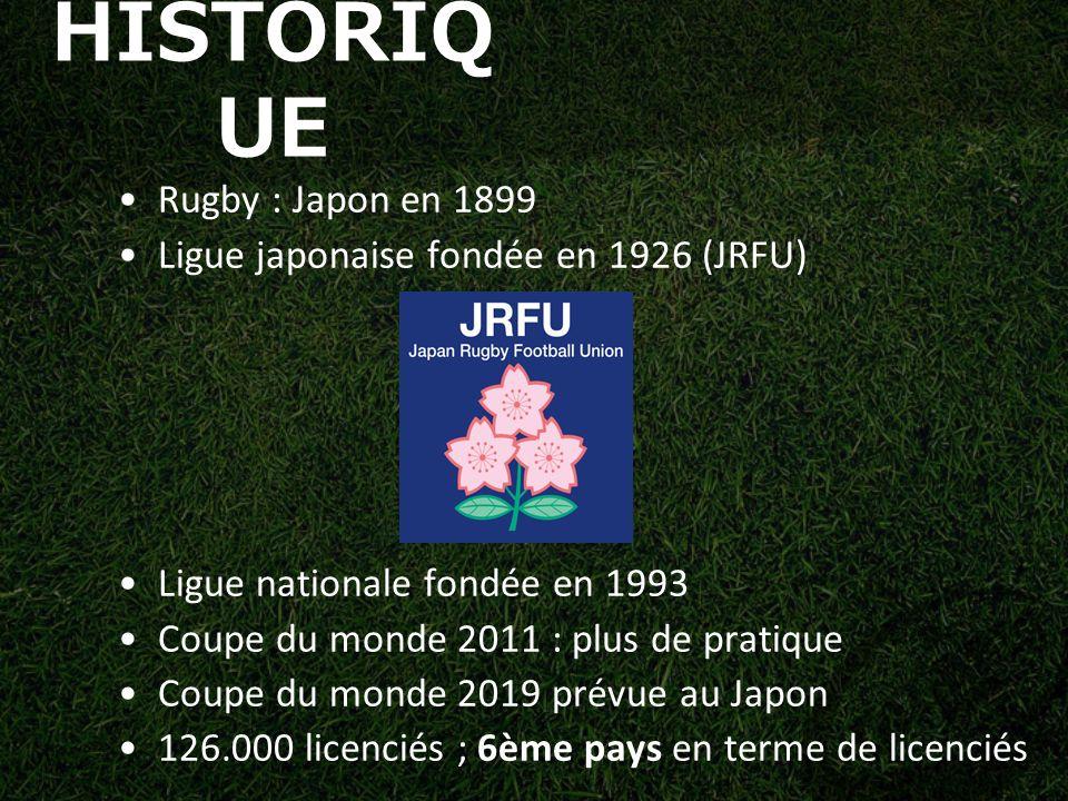HISTORIQ UE Rugby : Japon en 1899 Ligue japonaise fondée en 1926 (JRFU) Ligue nationale fondée en 1993 Coupe du monde 2011 : plus de pratique Coupe du monde 2019 prévue au Japon 126.000 licenciés ; 6ème pays en terme de licenciés