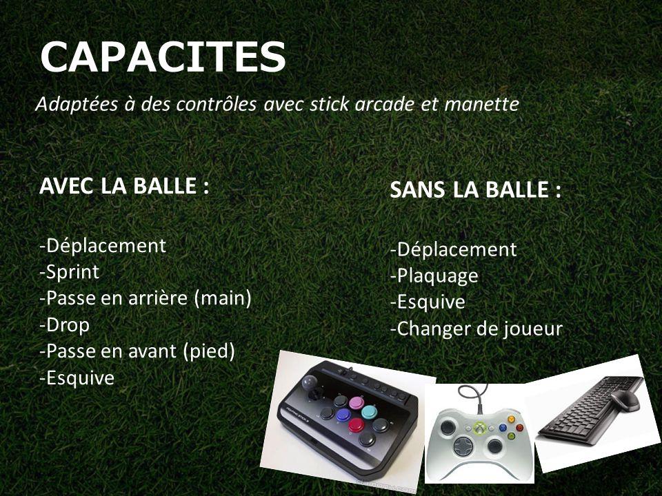 CAPACITES Adaptées à des contrôles avec stick arcade et manette AVEC LA BALLE : -Déplacement -Sprint -Passe en arrière (main) -Drop -Passe en avant (pied) -Esquive SANS LA BALLE : -Déplacement -Plaquage -Esquive -Changer de joueur