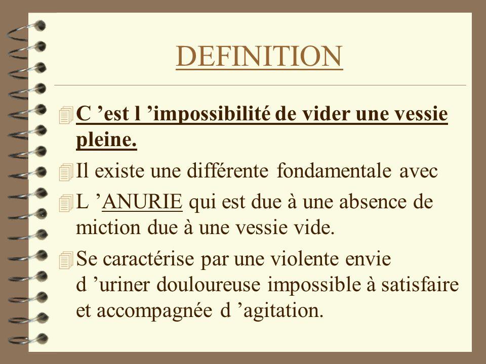 DEFINITION 4 C est l impossibilité de vider une vessie pleine. 4 Il existe une différente fondamentale avec 4 L ANURIE qui est due à une absence de mi