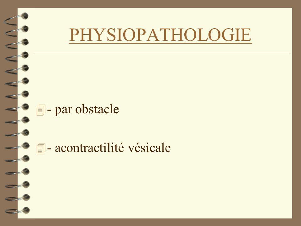 PHYSIOPATHOLOGIE 4 - par obstacle 4 - acontractilité vésicale