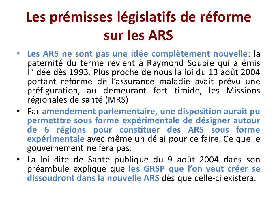 Les prémisses législatifs de réforme sur les ARS Les ARS ne sont pas une idée complètement nouvelle: la paternité du terme revient à Raymond Soubie qui a émis l idée dès 1993.