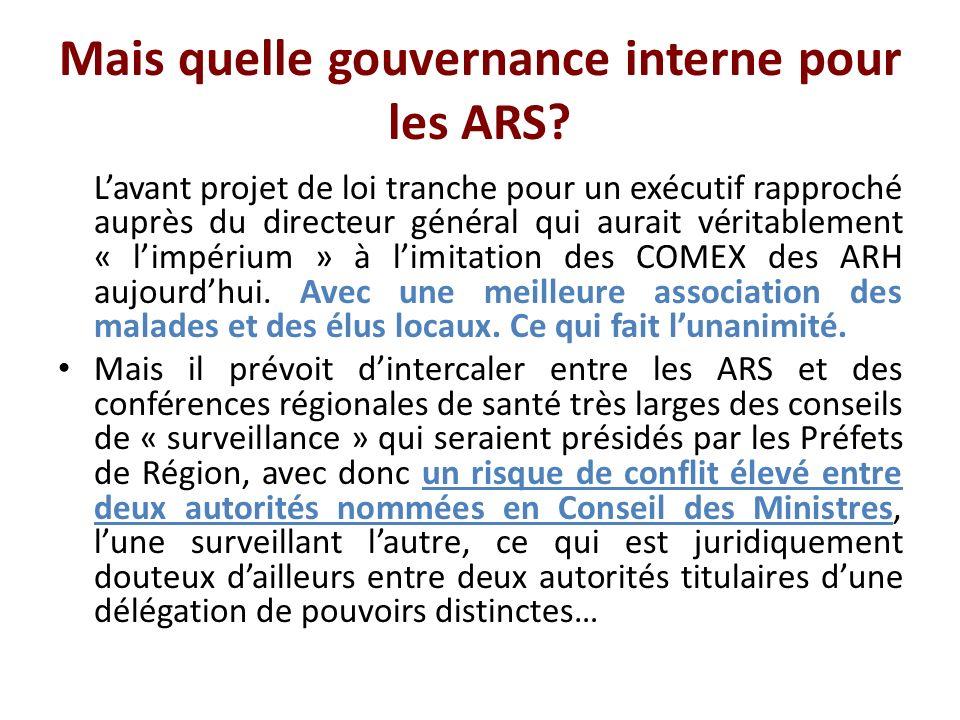 Mais quelle gouvernance interne pour les ARS.