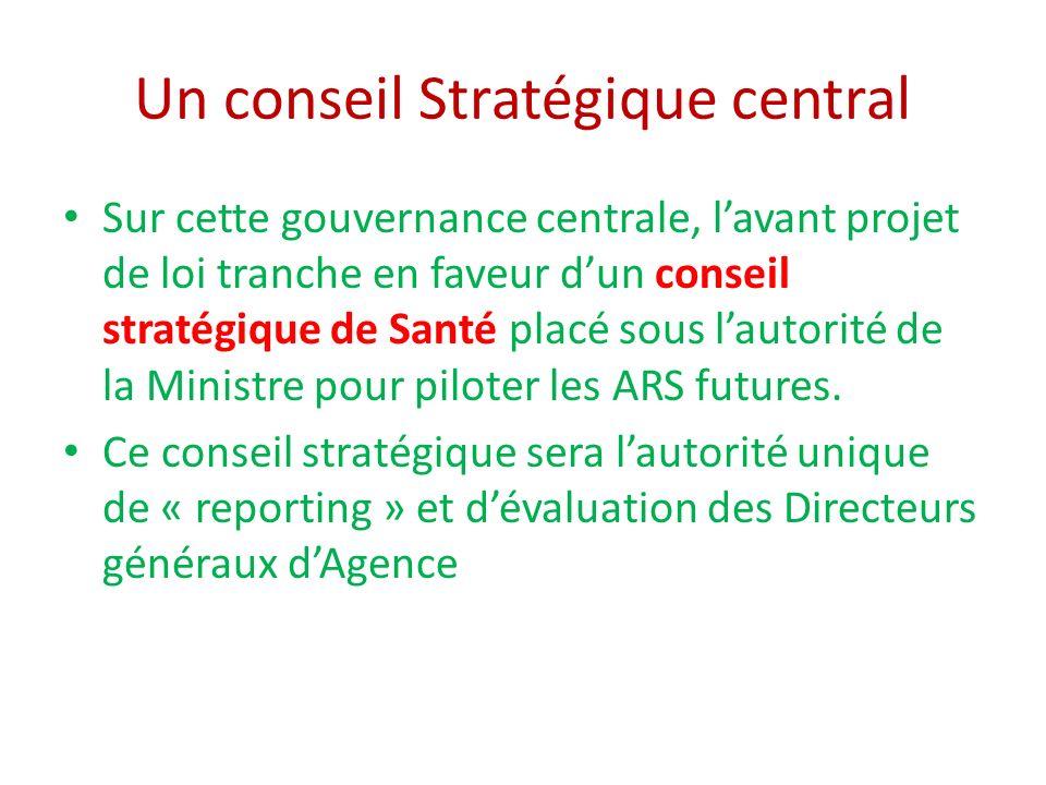 Un conseil Stratégique central Sur cette gouvernance centrale, lavant projet de loi tranche en faveur dun conseil stratégique de Santé placé sous lautorité de la Ministre pour piloter les ARS futures.