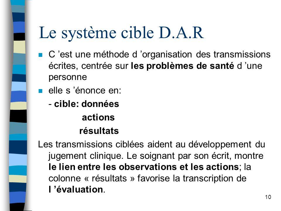 Le système cible D.A.R n C est une méthode d organisation des transmissions écrites, centrée sur les problèmes de santé d une personne n elle s énonce