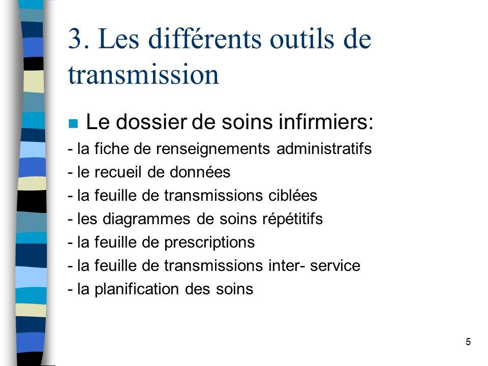 3. Les différents outils de transmission n Le dossier de soins infirmiers: - la fiche de renseignements administratifs - le recueil de données - la fe