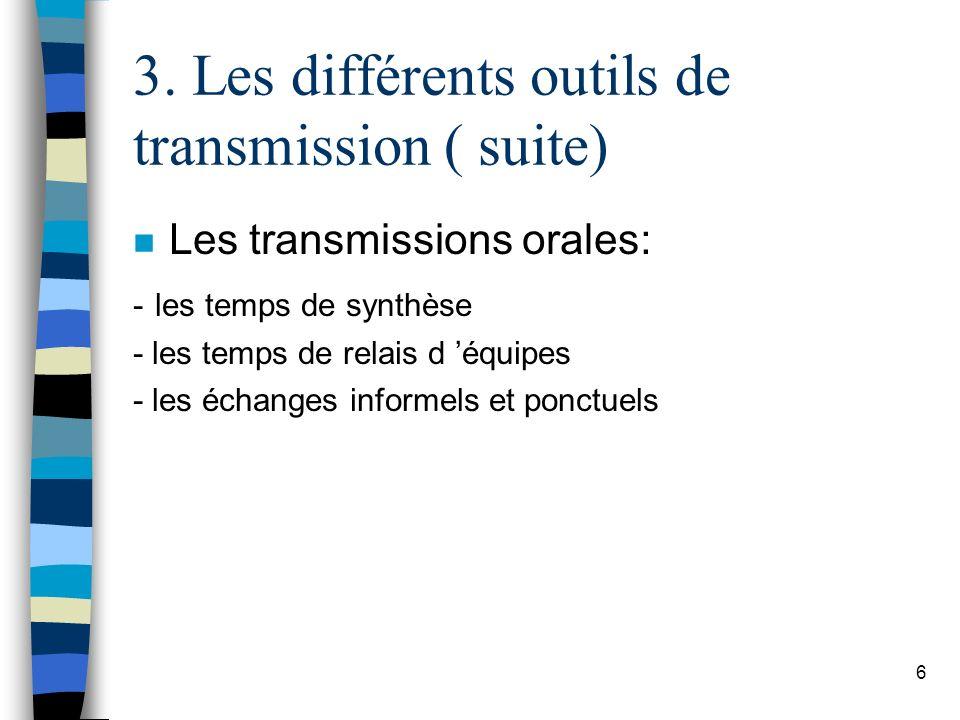 3. Les différents outils de transmission ( suite) n Les transmissions orales: - les temps de synthèse - les temps de relais d équipes - les échanges i