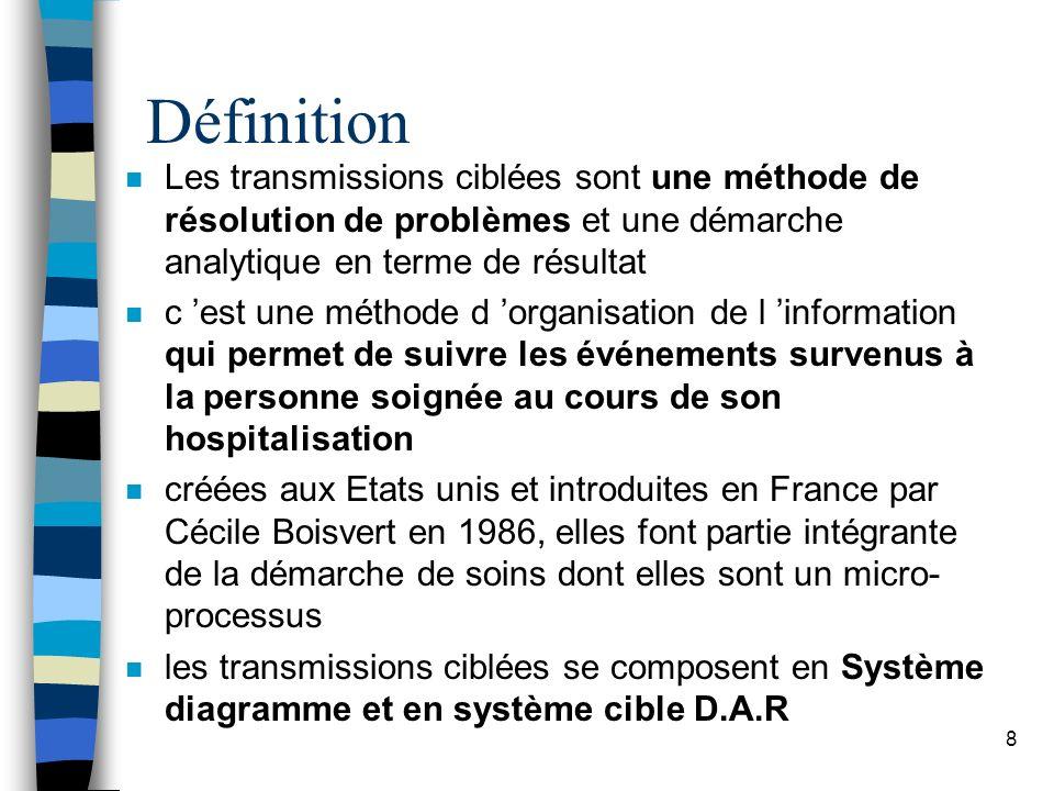 Définition n Les transmissions ciblées sont une méthode de résolution de problèmes et une démarche analytique en terme de résultat n c est une méthode