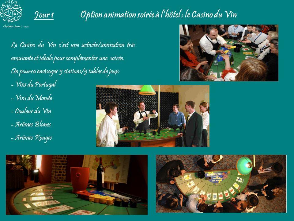 Jour 1 Option animation soirée à lhôtel : le Casino du Vin Le Casino du Vin cest une activité/animation très amusante et idéale pour complémenter une