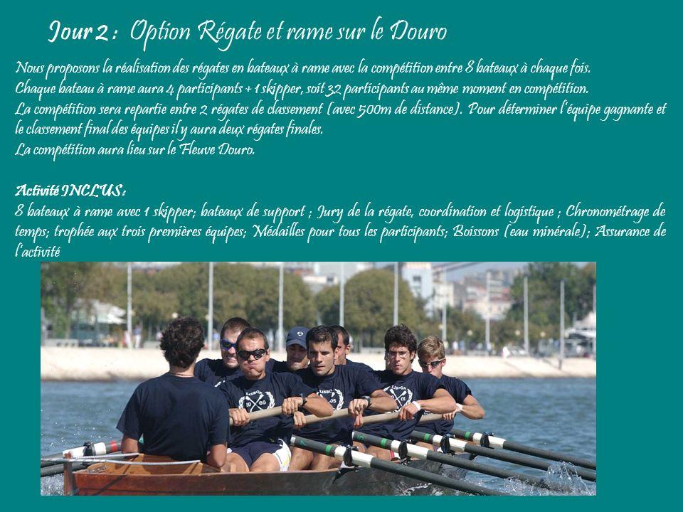 Jour 2 : Option Régate et rame sur le Douro Nous proposons la réalisation des régates en bateaux à rame avec la compétition entre 8 bateaux à chaque f