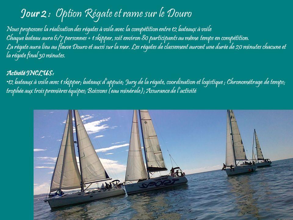 Jour 2 : Option Régate et rame sur le Douro Nous proposons la réalisation des régates à voile avec la compétition entre 12 bateaux à voile Chaque bate
