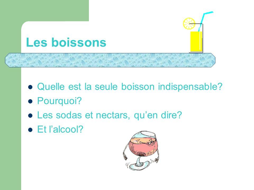 Les boissons Quelle est la seule boisson indispensable? Pourquoi? Les sodas et nectars, quen dire? Et lalcool?