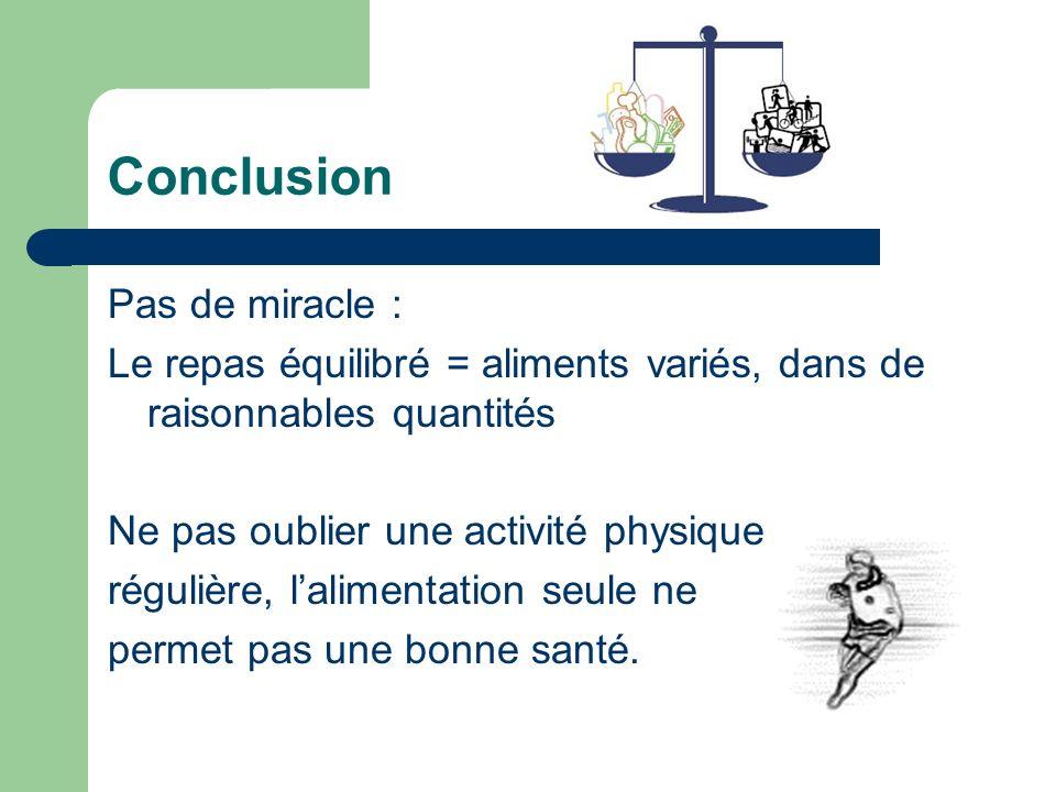 Conclusion Pas de miracle : Le repas équilibré = aliments variés, dans de raisonnables quantités Ne pas oublier une activité physique régulière, lalim