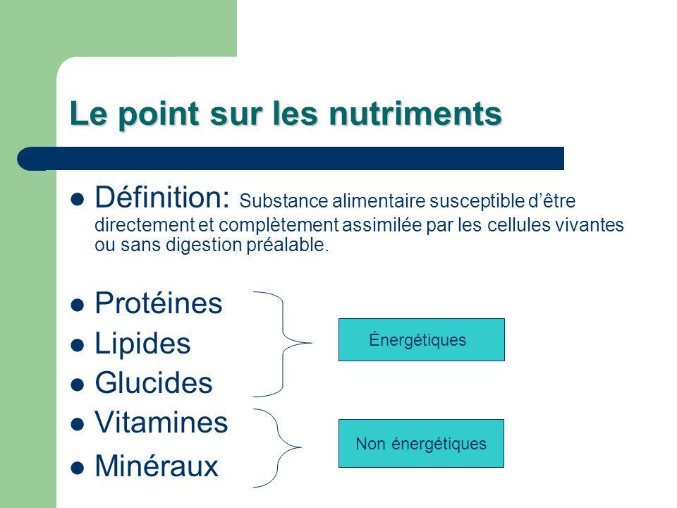 Le point sur les nutriments Définition: Substance alimentaire susceptible dêtre directement et complètement assimilée par les cellules vivantes ou san