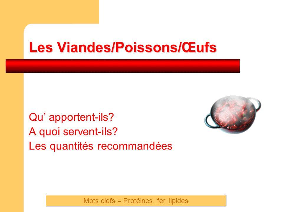Les Viandes/Poissons/Œufs Qu apportent-ils? A quoi servent-ils? Les quantités recommandées Mots clefs = Protéines, fer, lipides