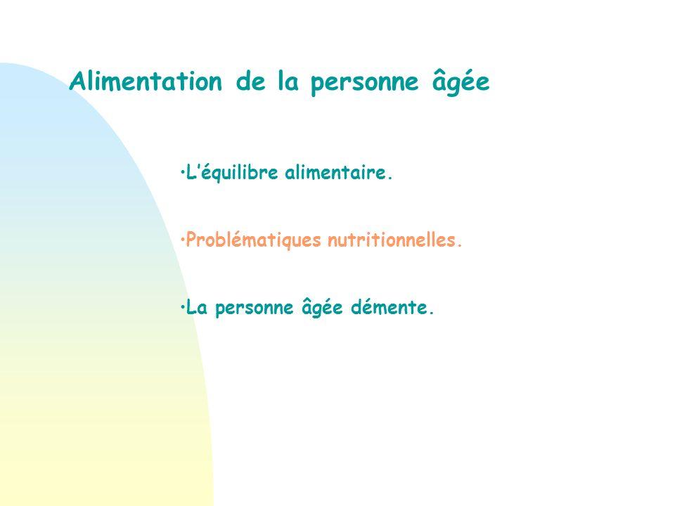 Problématiques nutritionnelles des personnes âgées.