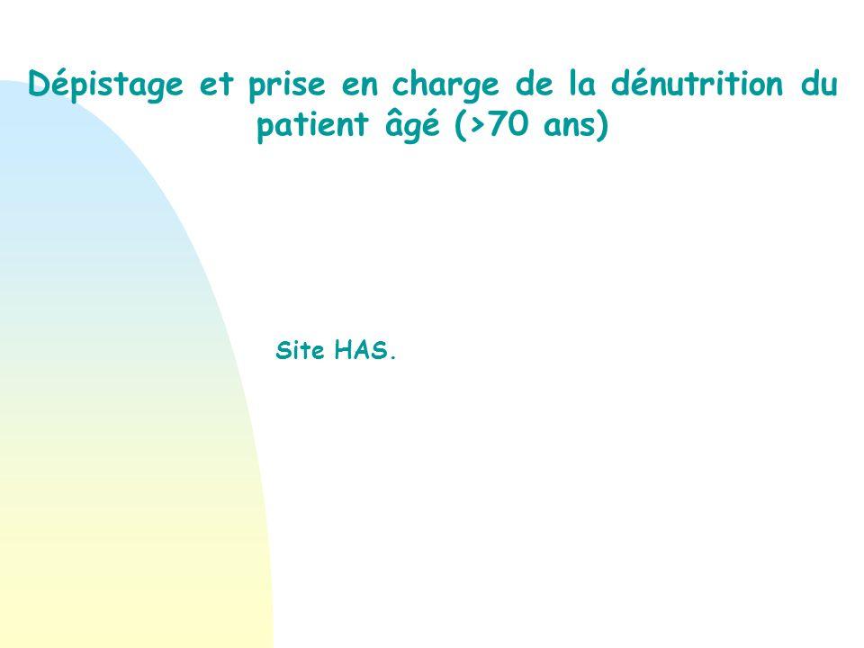 Dépistage et prise en charge de la dénutrition du patient âgé (>70 ans) Site HAS.